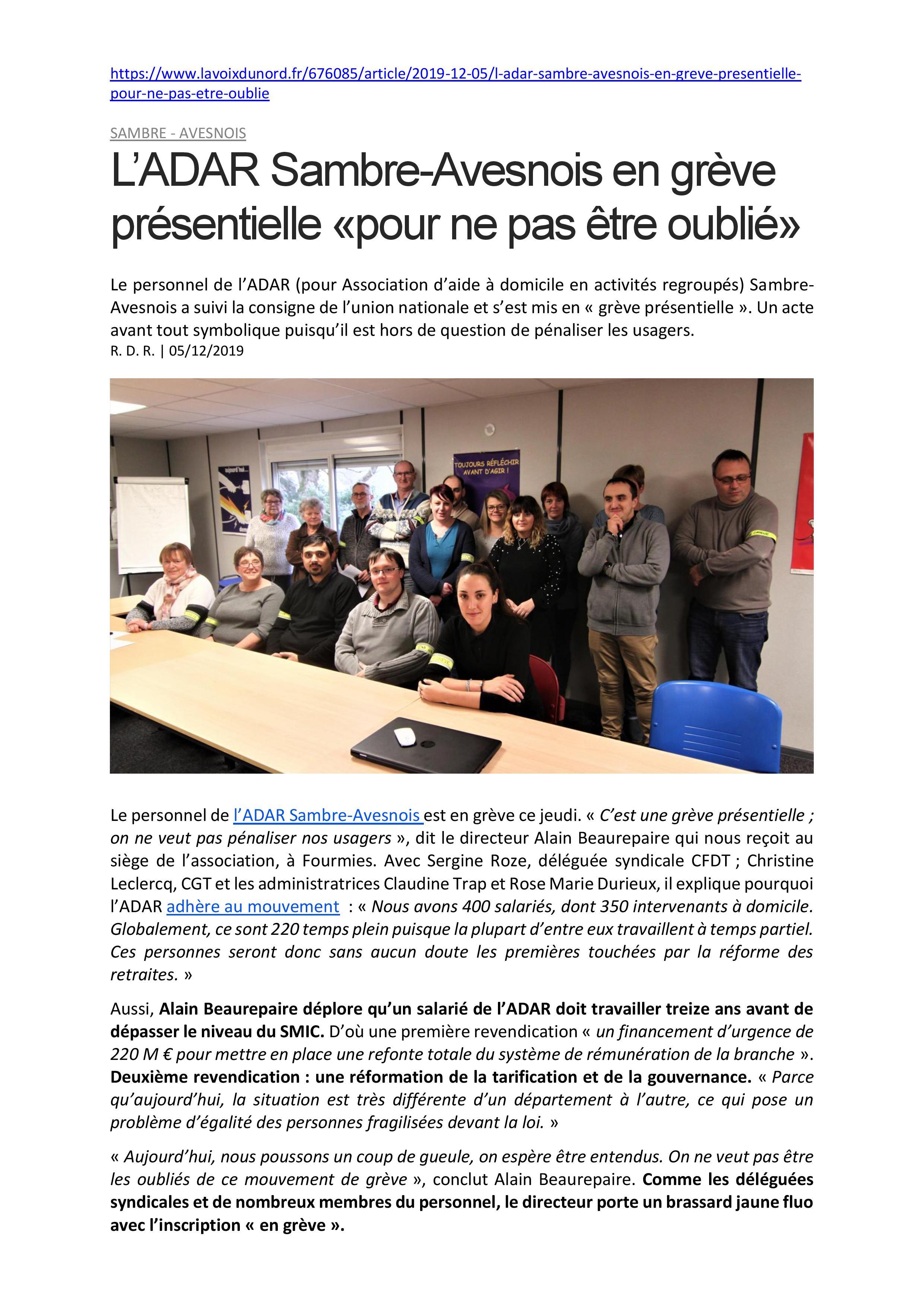 ADAR Sambre-Avesnois - Grève présentielle pour ne pas être oublié